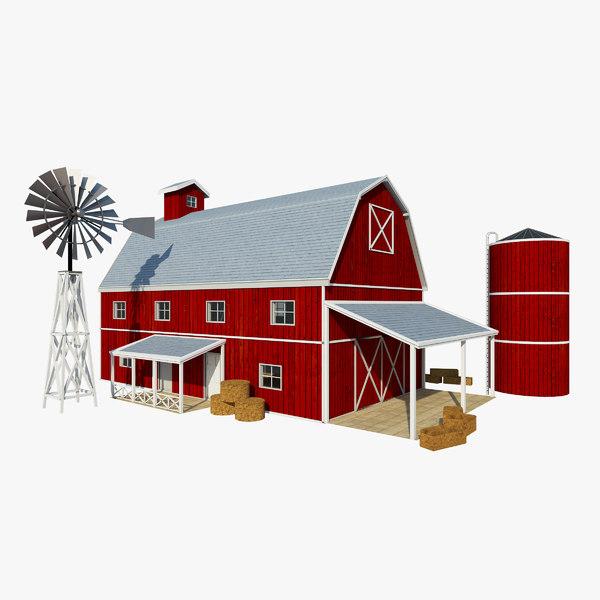 3D red barn windmill model