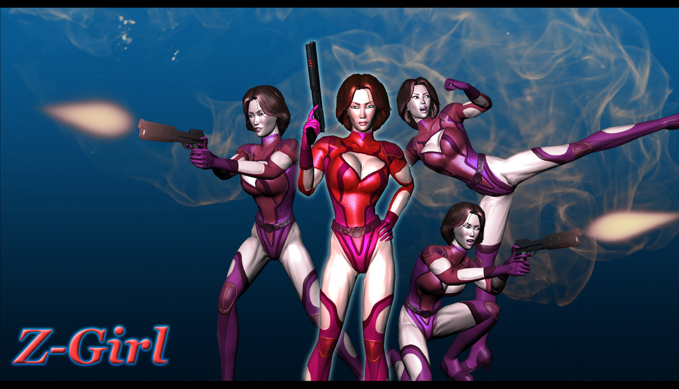 superhero character female z-girl 3D model