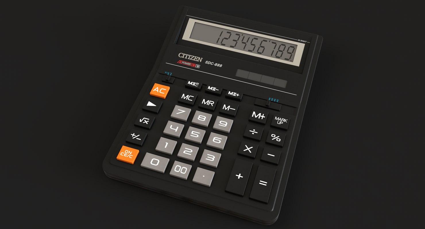Realistic Citizen Calculator Sdc 888 3d Model Turbosquid 1283586