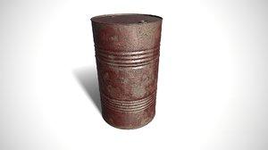old red oil barrel 3D model