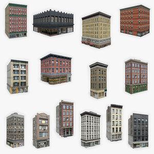 15 apartment buildings 3D model
