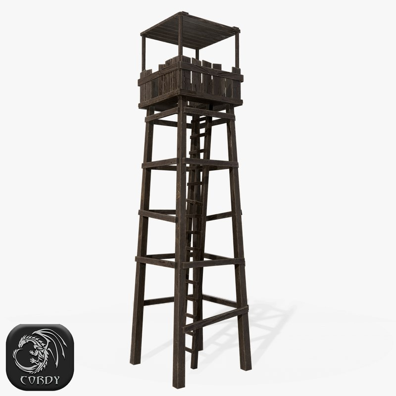ready wooden tower 3D model