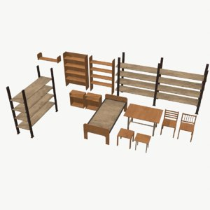 3D furniture low-poly
