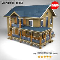 house sloped roof 3D model
