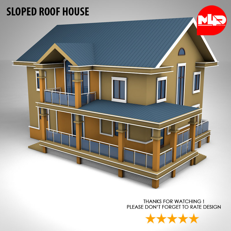 house sloped roof 3D model