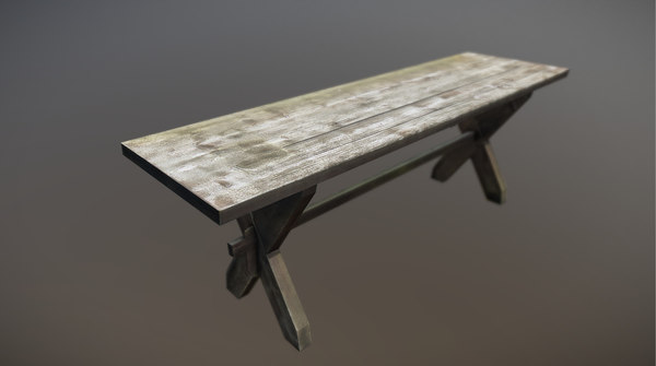 worn table garden 3D model