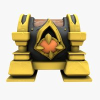 3D cartoon chest gold stone