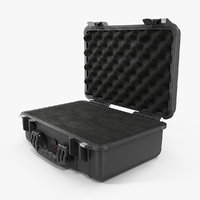 3D model black pelican case foam