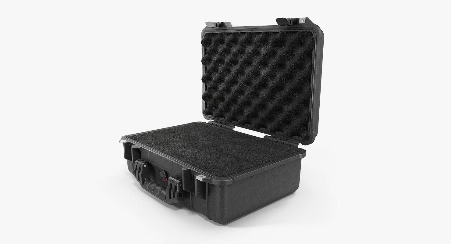3D model black pelican case foam