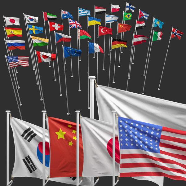3D flagpole flag model