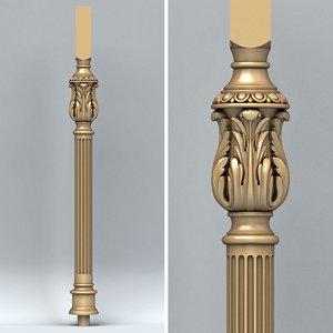 3D model baluster cnc intagli3d