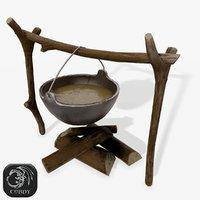 campfire cooking camp 3D model