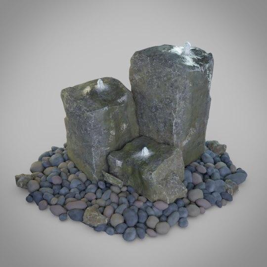 3D rock water fountain