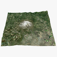 3D mount shasta real color model