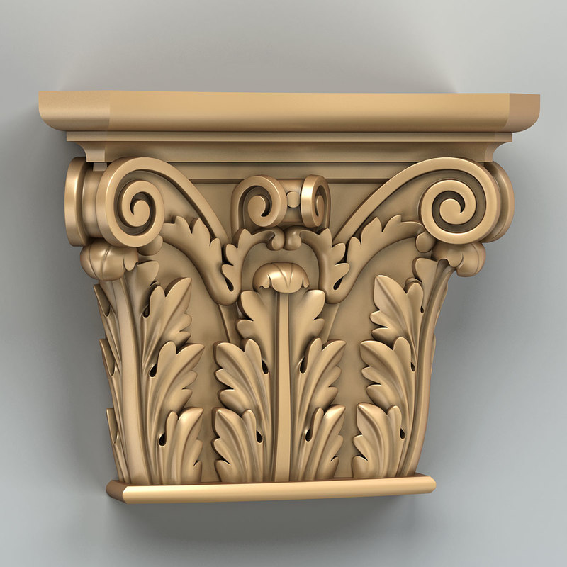 3D carved column capital