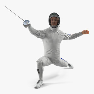 3D fencer lunge pose model