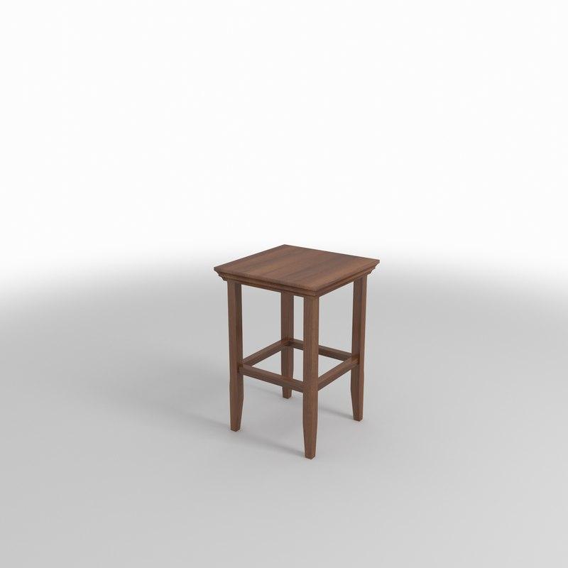 stool wood 3D
