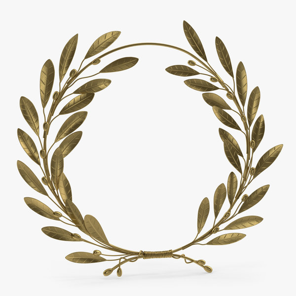 3D gold laurel wreath model