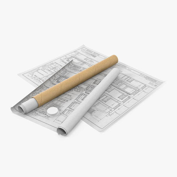 3D house blueprints cardboard tube