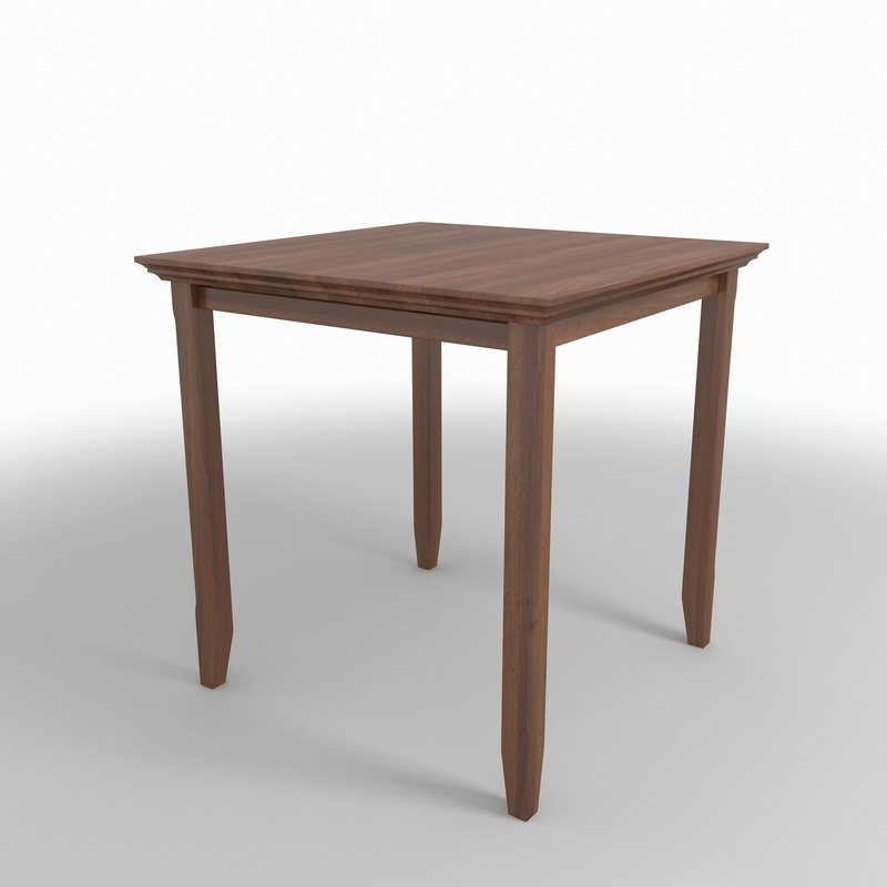 dark wood table 3D model
