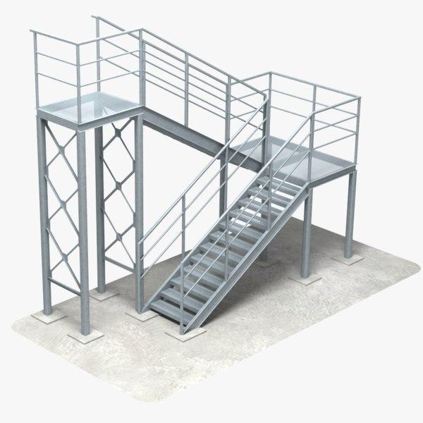 industrial stair 3 3D model