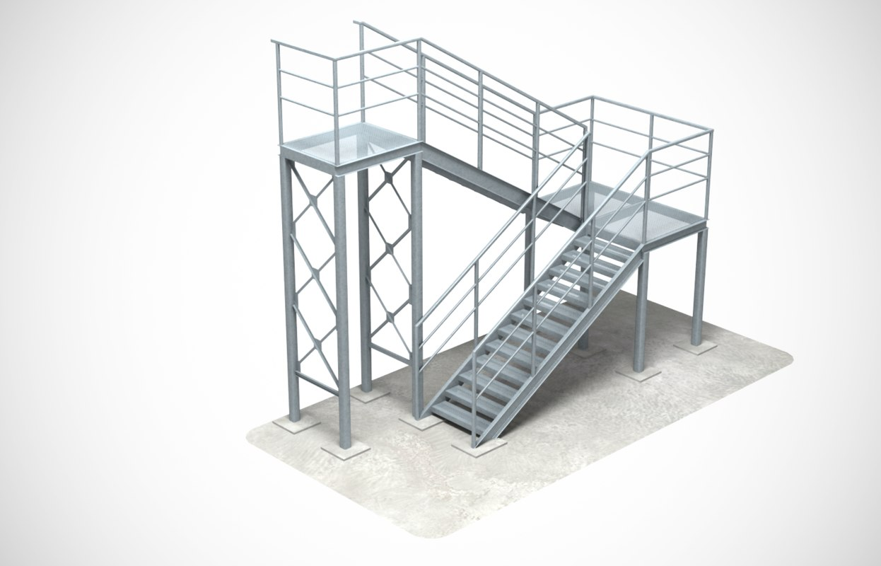 industrial stair 3 3D model