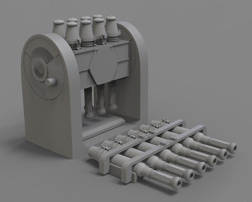 3D fictional rocket launcher model