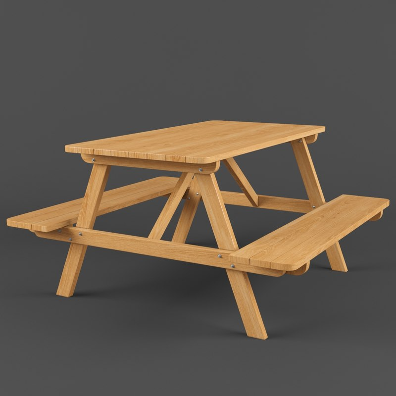 picnic bench 3D model