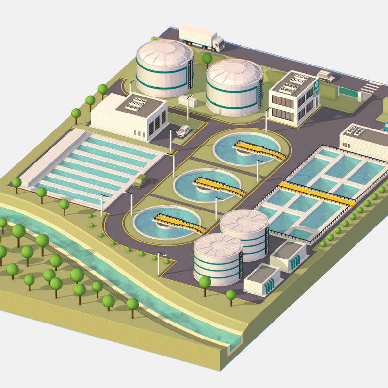 isometric water treatment 3D model