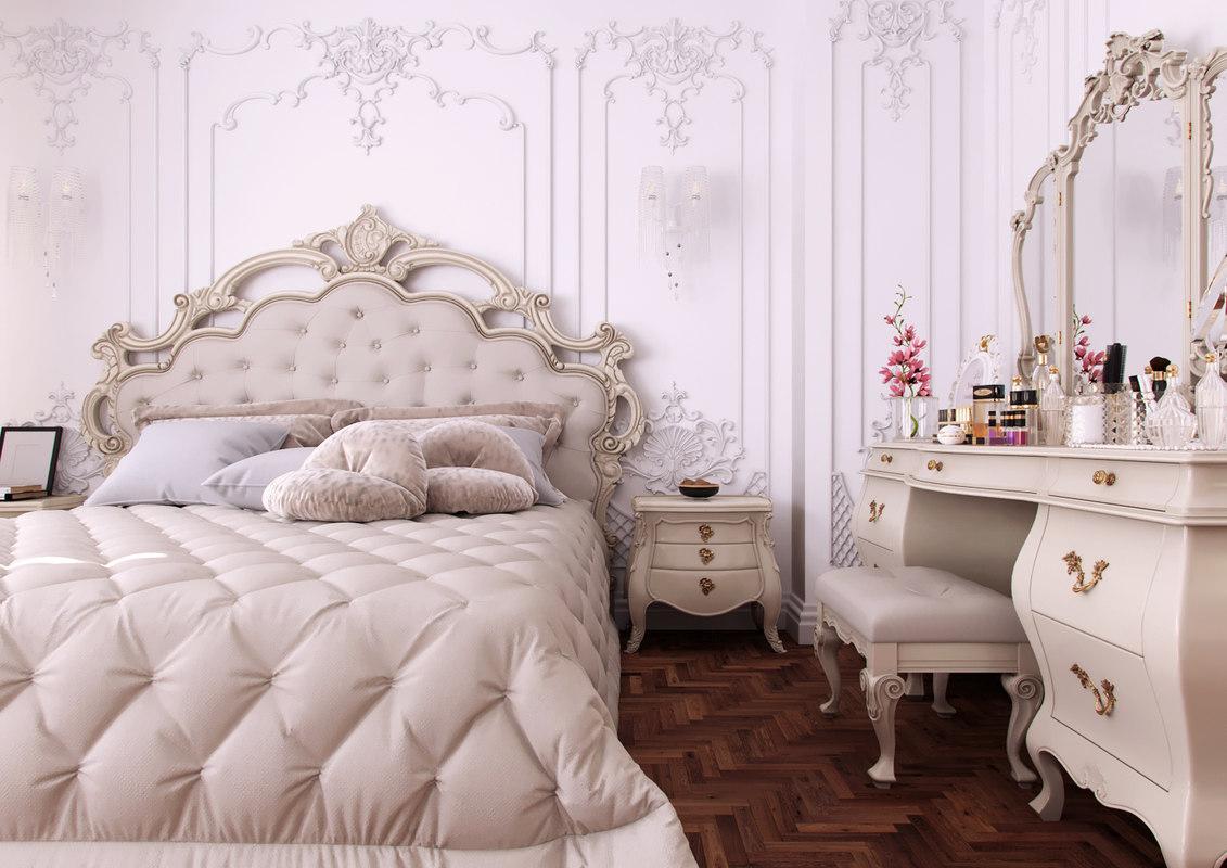 3D french classic bedroom scene