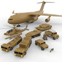 pack military vehicles 3D model