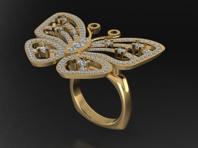 3D diamond fashion jewelry ring