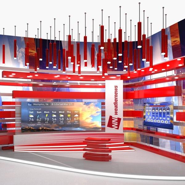 modern tv weather studio 3D model