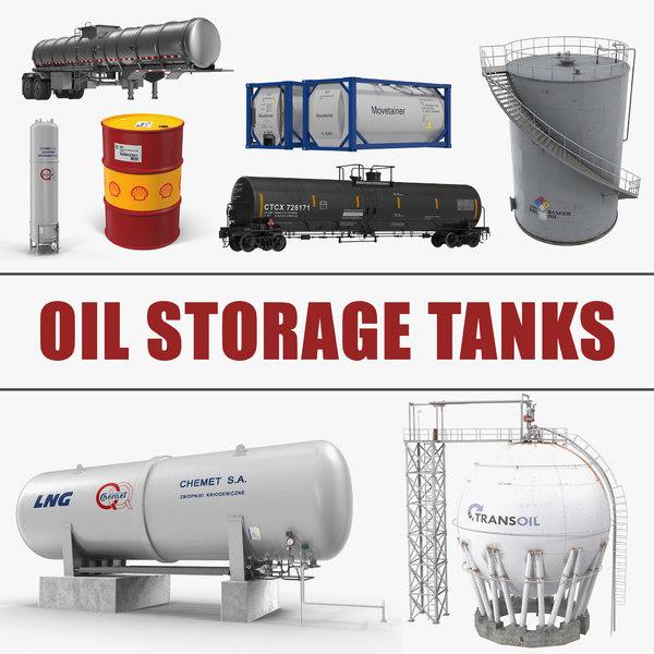 3D oil storage tanks 3