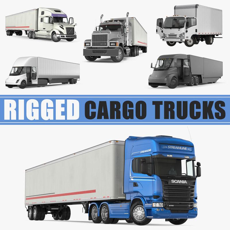 3D model rigged cargo trucks tesla