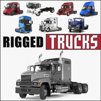 3D rigged trucks 2 semi