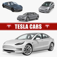 3D tesla cars 3 s model