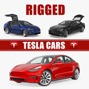 3D tesla rigged cars 2