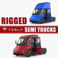 tesla semi trucks rigged 3D model