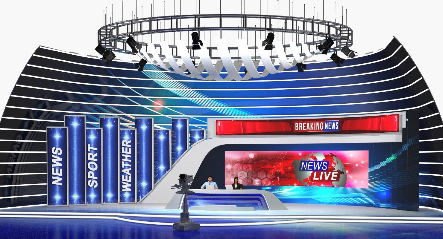 tv news studio camera 3D