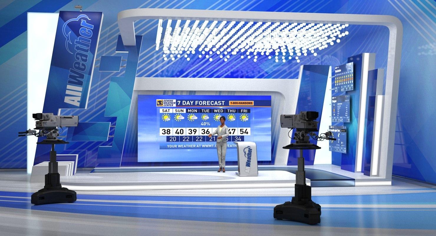 tv studio cameras weather 3D model