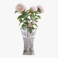 3D white camellia bouquet vase