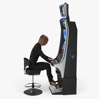 Woman Gambler Playing on Slot Machine Rigged with Fur 3D Model