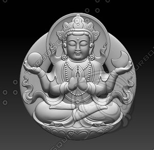 3D model stl bas-relief guanyin