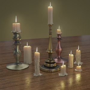 3D model realistic candles