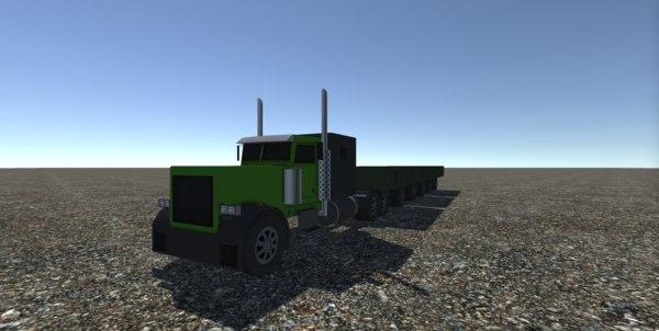 3D model industrial long truck