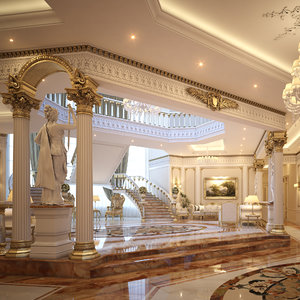 classical scene luxury lobby 3D model