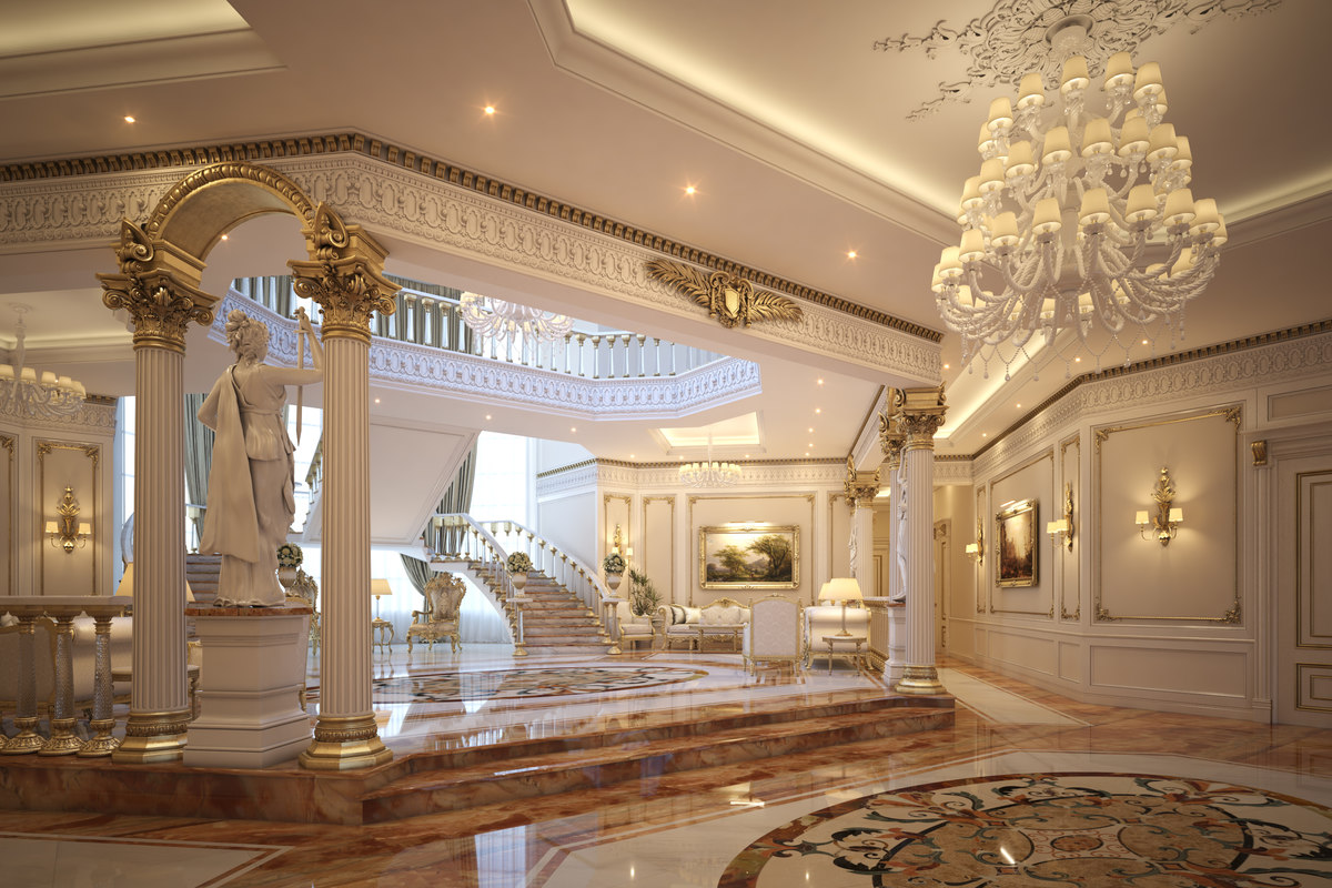 classical scene luxury lobby 3D model