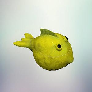 lemon fish dish 3D