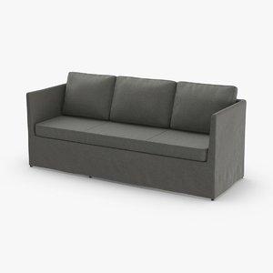scandinavian 3 seater sofa 3D model